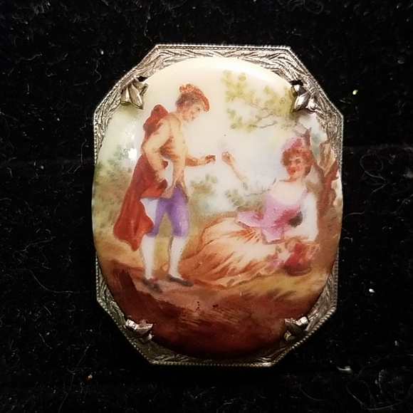 antique Victorian Jewelry - Victorian French Eng painted porcelain pin brooch